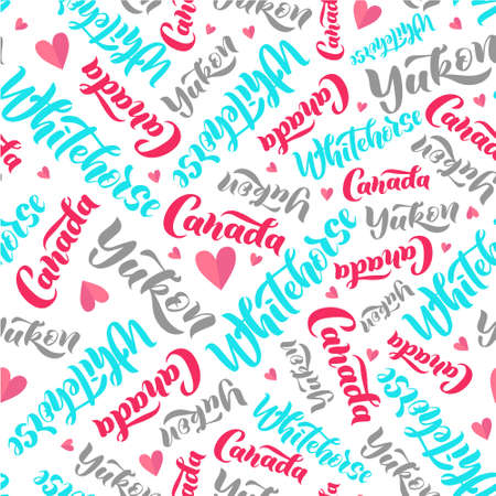 Pattern with lettering of Canada, Alberta, Edmonton. Background for tourist information signs, travel guides, tourist signs, cards, souvenir  イラスト・ベクター素材