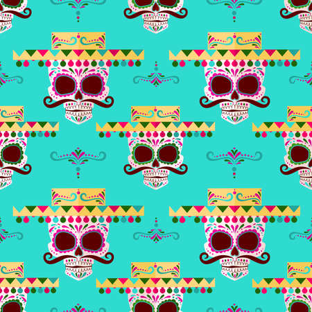 Sugar skull pattern. Day of the dead. Deads day background with mexican skulls. Dia de Muertos! a skull in a Mexican hat Ilustração