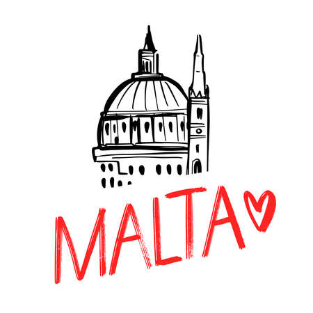 Handlettering logo of country Malta with beautiful church. Modern brush calligraphy. Hand drawn ornament for wrapping paper Illustration