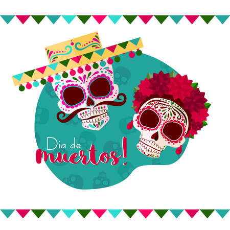 Deads day background with mexican skulls. Dia de Muertos! a skull in a Mexican hat with a mustache and a skull with a wreath of red flowers.