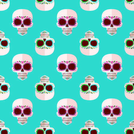 Bright Sugar skull pattern. Day of the dead. Background in sweet colors Imagens - 123496929