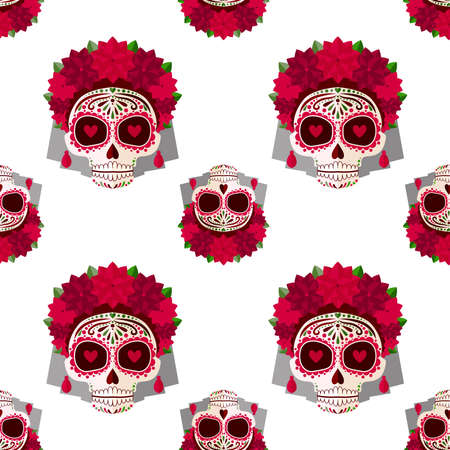 Sugar skull pattern. Day of the dead.Sugar skull pattern. Day of the dead. A skull with a wreath of red flowers and hearts in eyes