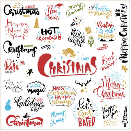 Set of hand drawn christmas quotes with lettering. Freehand Fonts with Christmas Wishes for cards, paper, banners