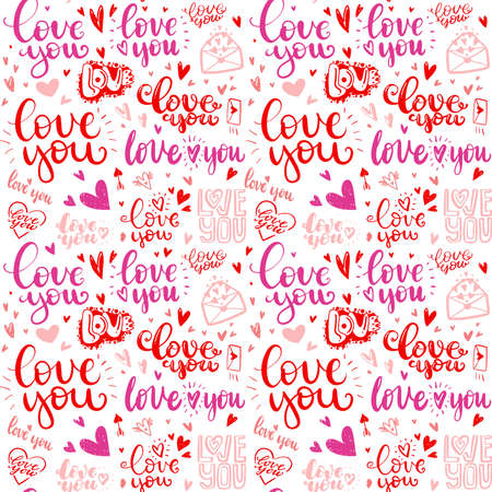 pattern of love hand drawn quotes in love. messages love you in different handwritten fonts.