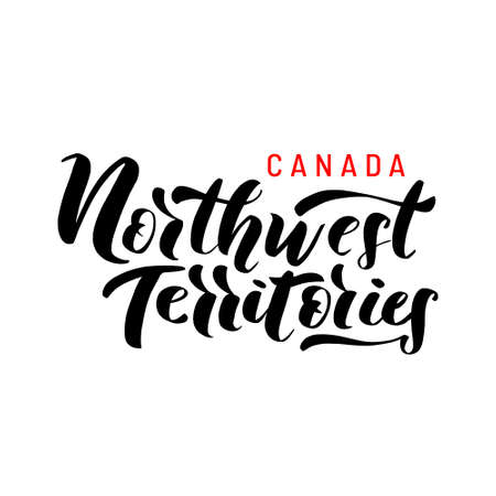 Northwest Territories. Hand drawn lettering of Canadas province for tourist signs, tourist map of the province. Logo, banner. Unique freehand lettering.