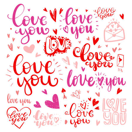 Set of love hand drawn quotes in love. messages love you in different handwritten fonts. Illustration