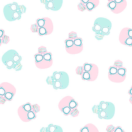 Bright Sugar skull pattern. Day of the dead. Background in sweet colors Çizim
