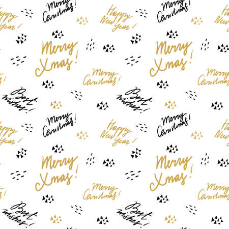 Freehand Fonts with Christmas Wishes pattern for cards, paper, banners. Merry Christmas, Happy New Year 스톡 콘텐츠 - 121208132
