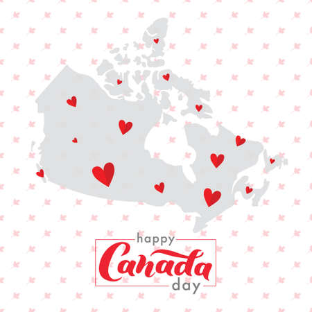 Happy Canada Day. The territory of Canada with a beautiful lettering. For tourist information signs, travel guides, tourist signs Illusztráció