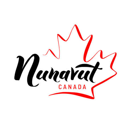 Nunavut with a maple leaf. Hand drawn lettering of Canadas province for tourist signs, tourist map of the province. Logo, banner. Unique freehand lettering.