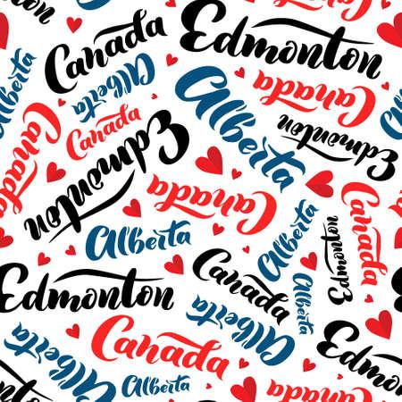 Pattern with lettering of Canada, Alberta, Edmonton. Background for tourist information signs, travel guides, tourist signs, cards, souvenir Ilustração