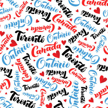 Pattern with lettering of Canada, Toronto, Ontario. Background for tourist information signs, travel guides, tourist signs, cards, souvenir Ilustrace
