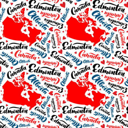 Pattern with territory of Canada and lettering of Alberta, Edmonton. Background for tourist information signs, travel guides, tourist signs, cards, souvenir