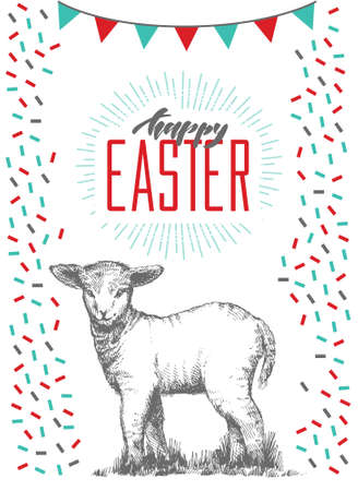 Hand drawn easter card with hand lettering. Greeting cards with cute lamb.