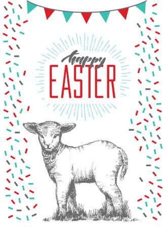 Tarjeta de Pascua dibujada a mano con letras a mano. Tarjetas de felicitación con lindo cordero.