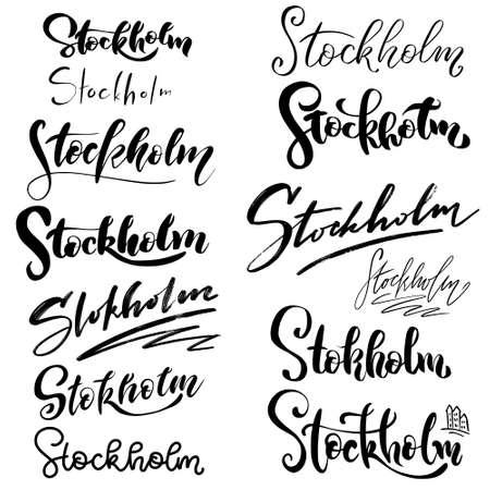 Zestaw strony napis Sztokholm - nazwa miasta. Z abstrakcyjnym tłem. Handlettering miasta Szwecji - Sztokholm. Nowoczesne logo pędzla, kaligrafia. Ręcznie rysowane ornament do papieru do pakowania
