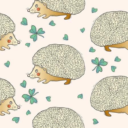 Seamless cute hedgehog animal pattern illustration. Vettoriali