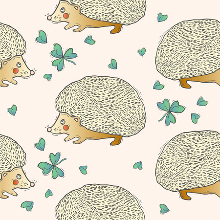 Seamless cute hedgehog animal pattern illustration. Ilustrace