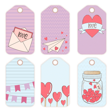 Vector design elements for a gift on Valentines day. Gift tag.