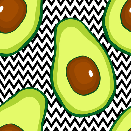 Seamless pattern with avocado hand drsw vector food