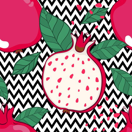 Seamless decorative black and red pattern with pomegranates. Sliced pomegranates and seeds. Hand draw illustration. Vectores