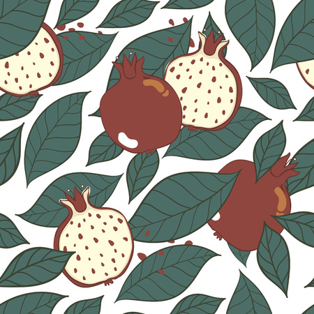 Seamless decorative black and red pattern with pomegranates. Sliced pomegranates and seeds. Hand draw illustration.  イラスト・ベクター素材
