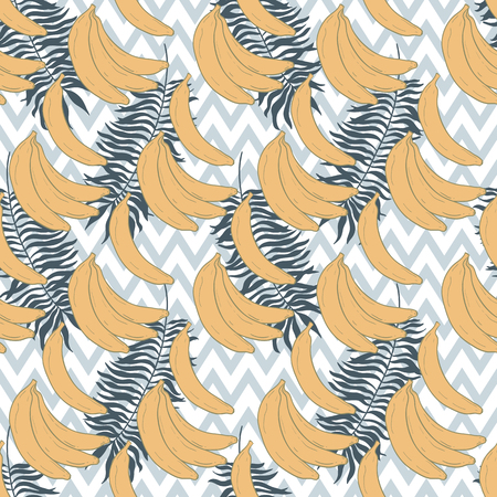 Seamless pattern with tropical palm leaves and bananas. Vector illustration. Hand draw.