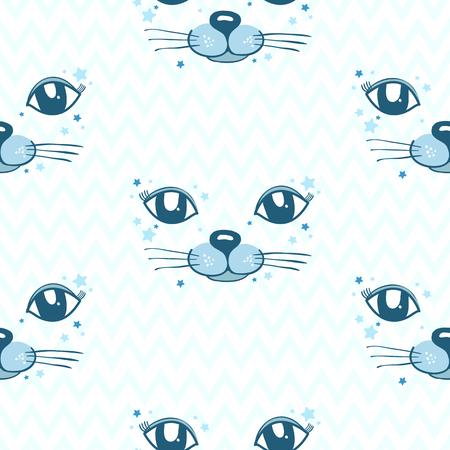Seamless Pattern Vector Cat Pattern Kids Print Baby Showerhand