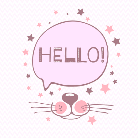Vector Illustration of a cat, muzzle, mustache, ears, crown, eyes.Hand draw  イラスト・ベクター素材