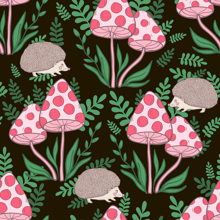 Vector seamless pattern with mushrooms grebes and hedgehog on a dark background. Hand draw illustration