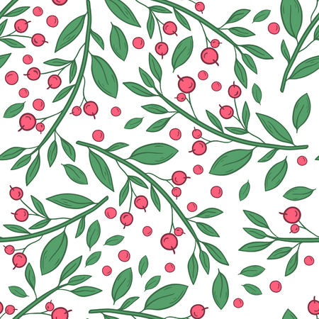 Vector seamless pattern with twigs with berries on a white background. Hand draw illustration Иллюстрация