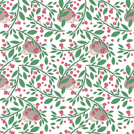 Vector seamless pattern with twigs with berries and hedgehog on a white background. Hand draw