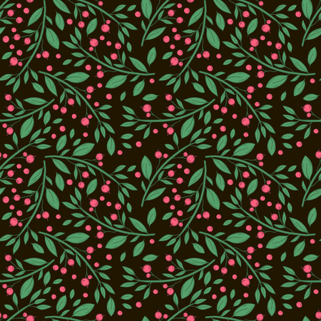 Vector seamless pattern with twigs with berries on a black background. Hand draw