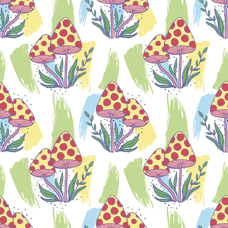 Vector seamless pattern with mushrooms on a white background.Hand draw