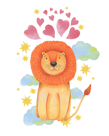 Watercolor illustration animal cute lion on a white background, heart,star,clouds. Hand draw illustration. Valentines card. Kids print.