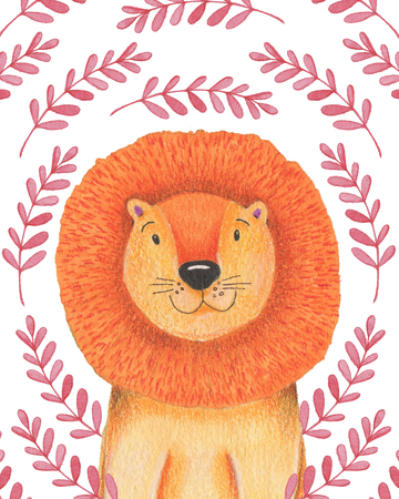 Watercolor illustration animal cute lion on a white background, heart,star,clouds. Hand draw illustration. Valentines card.