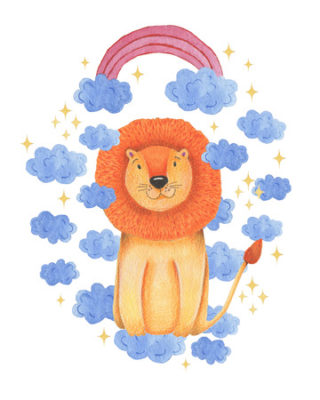 Watercolor illustration animal cute lion on a white background, rainbow ,star,clouds. Hand draw illustration. Valentines card. Reklamní fotografie