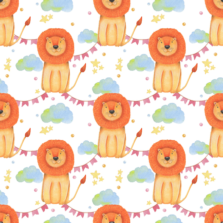 Watercolor pattern animal cute lion on a white background, star, garland, clouds. Hand draw illustration. Kids print. Stock Photo