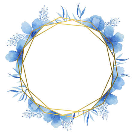Gold Frame with blue watercolor colors. Suitable for wedding invitations, postcards and other projects. 스톡 콘텐츠