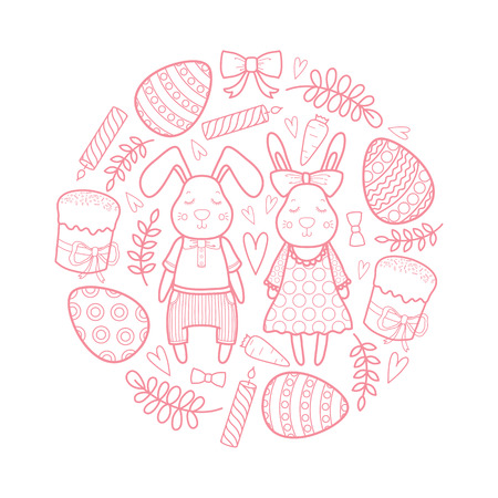 Decorative vector set for a holiday Easter. Rabbits girl and boy, eggs, garland, cake, twigs, bow and other elements for design. Hand draw illustration. Illustration