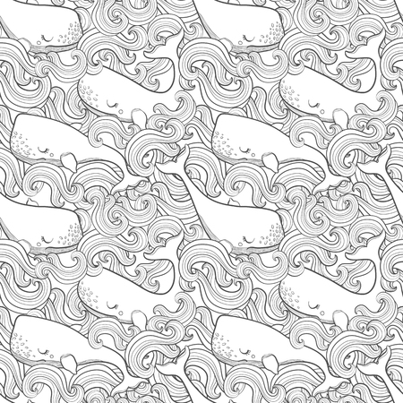 Graphic whales flying in the sky. Sea and ocean creatures. Vector fantasy seamless pattern. Coloring book page design for adults and kids hand draw illustration.