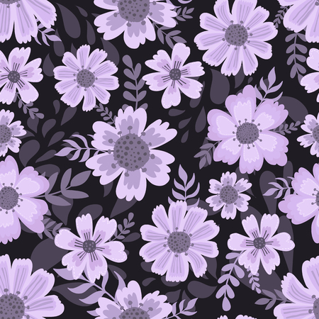 Cute pattern in flower. Dark background. Ditsy floral background. The elegant the template for fashion prints. Hand draw