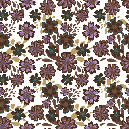 Cute pattern in flower. White background. Ditsy floral background. The elegant the template for fashion prints. Hand draw