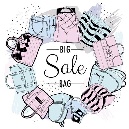 Vector set of hand-drawn shopping bags for advertising sales, banner, signboard. llustration sketch. Illustration