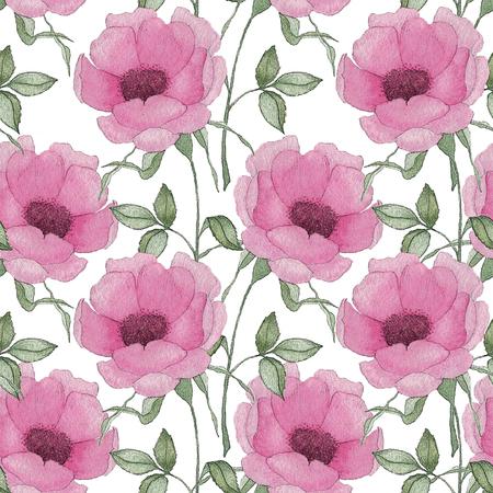 Wzór z różowe kwiaty i liście na białym tle, akwarela kwiatowy wzór, kwiat w kolorze różowym, kwiatki na tapetę, karty lub tkaniny. Ilustracja rysować ręka.