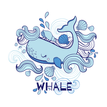Cute Whale hand drawn cartoon vector illustration print in white background.