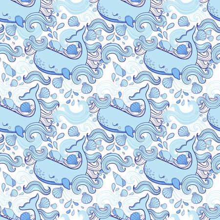 Cute pattern Whale cartoon vector. Hand drawn illustration.