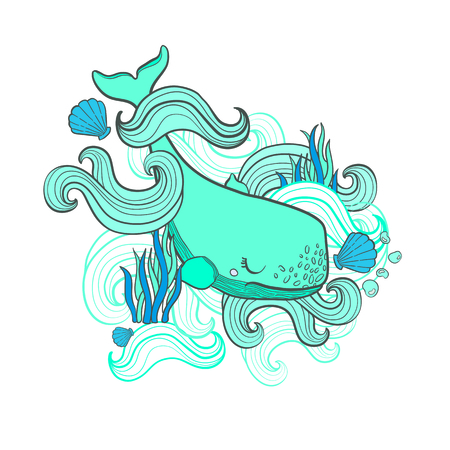 Cute Whale cartoon hand drawn vector illustration print in white background.