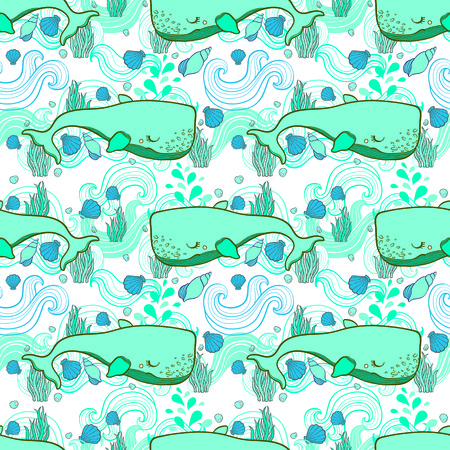 Cute pattern Whale cartoon vector. Hand draw illustration.