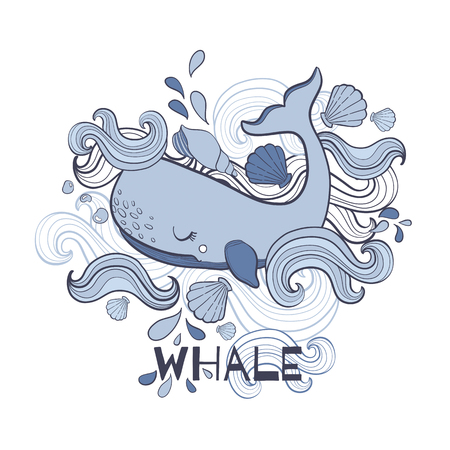 Cute Whale cartoon vector illustration print in white background.